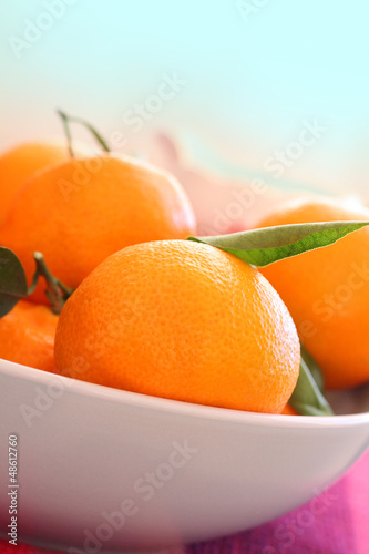 Ripe clementines in the bowl, close up