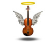 Violin with wings and halo on white