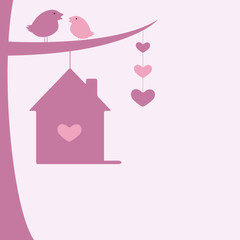 Valentine`s day background with two birds