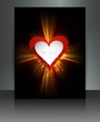 Fantastic brochure red heart Valentine's Day wave design vector