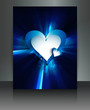 Bright brochure blue heart Valentine's Day wave card vector