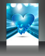 Valentine Days blue heart brochure fantastic card design