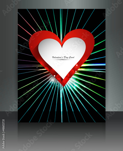 Valentine's Day bright brochure rainbow rays reflection card