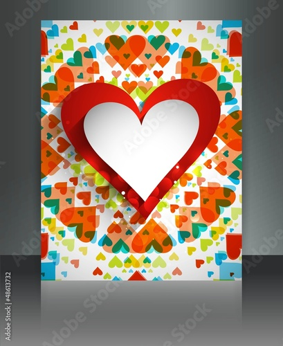 Valentine's Day hearts brochure background card design