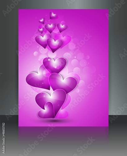Valentine Days hearts bright colorful  brochure love card illust
