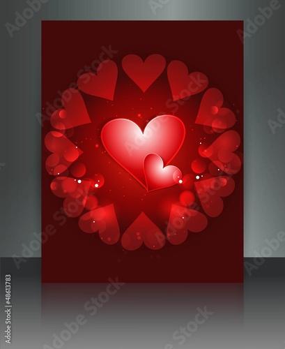 Wedding red hearts brochure card vector