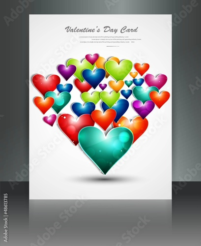 Valentine Days rainbow colorful hearts brochure vector