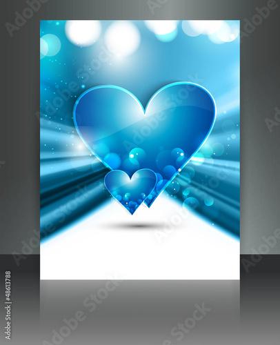Valentine Days blue heart brochure fantastic card design