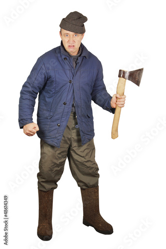 Aggressive enraged man with an axe