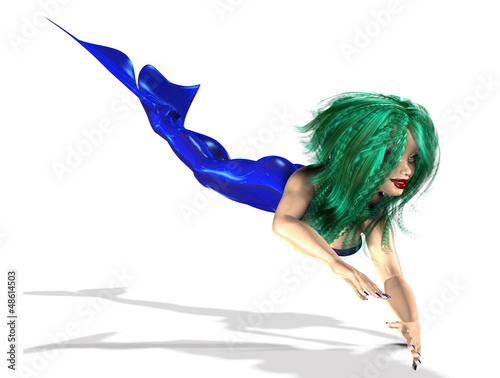 Mermaid with green hair