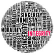 Integrity in word cloud with several positive qualities and char
