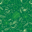 Birds and leaves green spring seamless pattern, vector