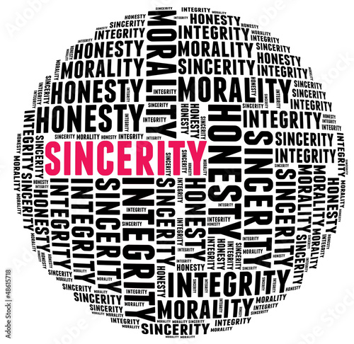 Sincerity in word cloud with several positive qualities and char