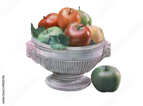fruit bowl illustration over white