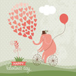 Cute elefant on a bike, Valentine card