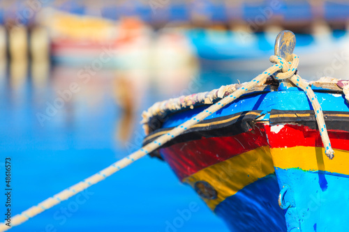 Staande foto Athene Colorful boat with rope, in Aitoliko sea lake in Central Greece