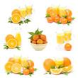 orange juice and fresh fruits - collage