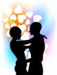 Innamorati con sfondo cuori