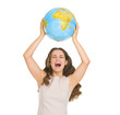 Happy young woman rising up globe