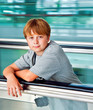 boy in the departure hall  in the new Airport
