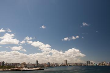Blue sky above  cuban Malecon, Havana, Cuba