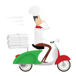 Funny chef delivering pizza on moped painted as italian flag