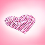 Rhinestones in form of a heart poster