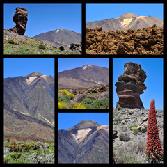 Mosaic photos of Mount Teide at Canary