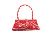 A luxury red lace woman handbag decorated by colorful beads.