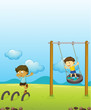 Kids playing swing