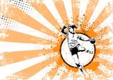 handball retro poster background