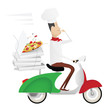 Funny chef delivering pizza on a moped painted as italian flag
