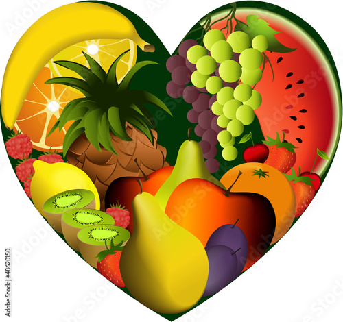 Fruits in heart shape