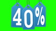 Labels discount of 40% and 50% on a green background screen.