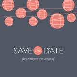 wedding invitation, balloons paper lamps, save the date