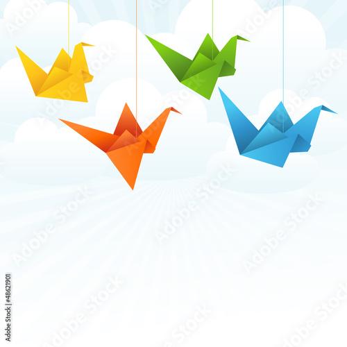 Poster Geometrische dieren Origami paper birds flight abstract background.