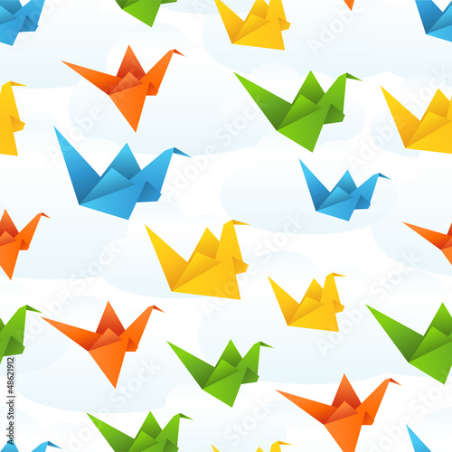 Staande foto Geometrische dieren Origami paper birds flight abstract background.
