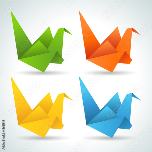Foto op Canvas Geometrische dieren Origami paper birds collection.