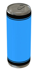 blue beverage can