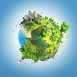 Quadro globe concept of idyllic green world