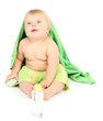 Little boy with color towel, isolated on white