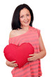 beautiful teenage girl holding big red heart