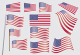 set of United States flags vector illustration - 48626763