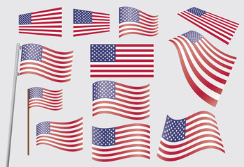 set of United States flags vector illustration