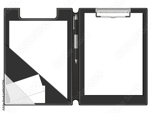 clipboard folder blank sheet of paper and pen vector illustratio