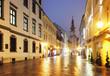 Bratislava street at night - Michael Tower, Slovakia.