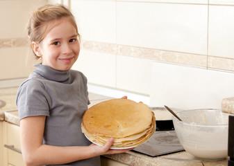 Girl cooking breakfast