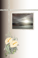Condolence with cross, picture with sundown and bouquet
