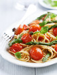 Spaghetti with cherry tomatoes and green asparagus