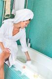Young woman playing foam bathroom bubblebath hygiene